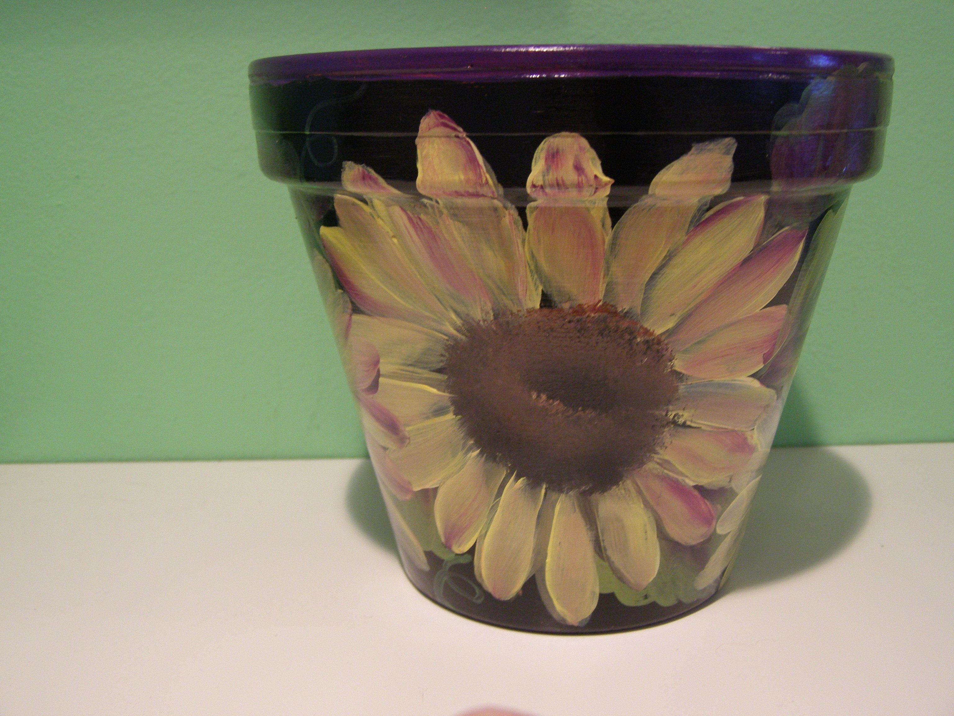 sunflower ceramic vase of sunflower painted flowerpot by dori from purplepetals net for sunflower painted flowerpot by dori from purplepetals net