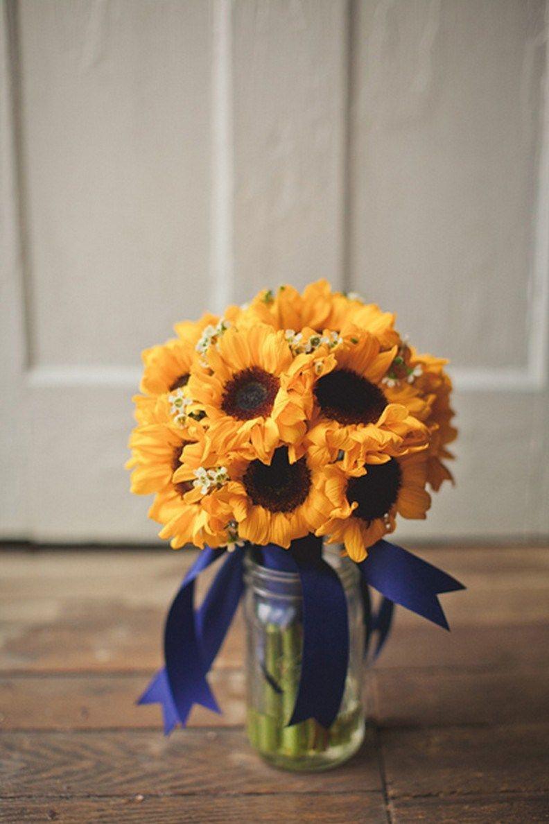 sunflowers blue vase of sunflower centerpieces 18 engagement bridesmaid best man with sunflower centerpieces 18