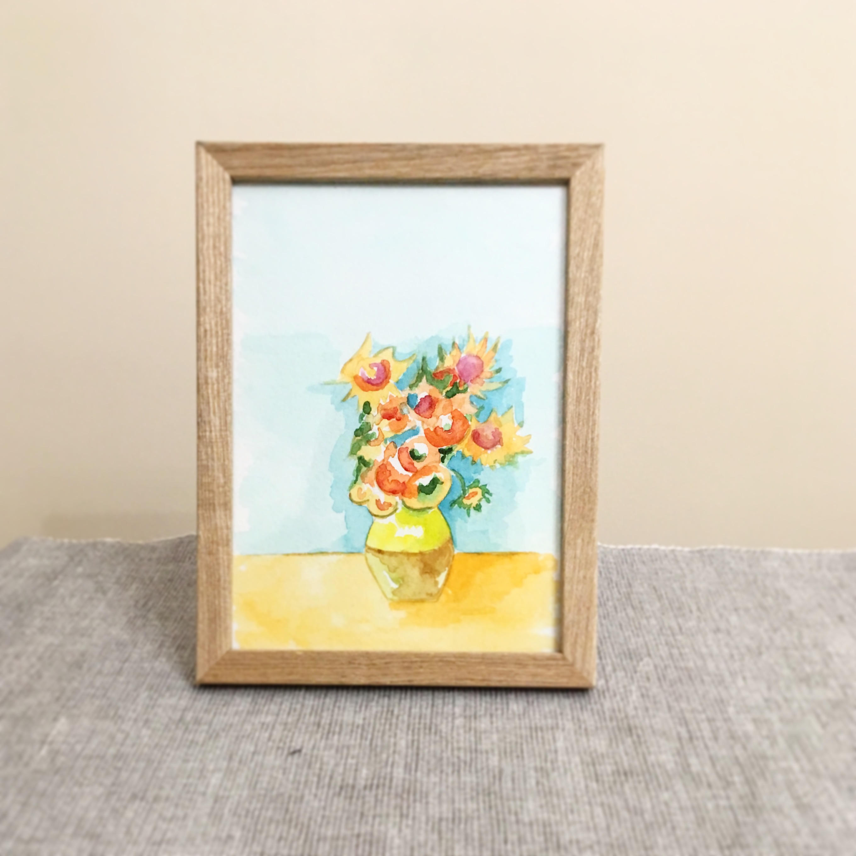 "sunflowers in a vase van gogh of original sunflowers watercolor flower nature a5 watercolour etsy intended for dŸ""Žzoom"