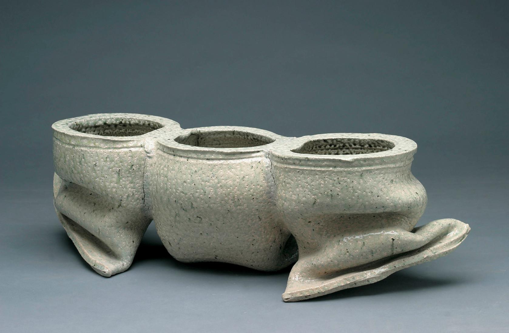 susan paley vases of david kordansky gallery for folded tri part vase 1975 salt glazed stoneware 8 x 25 x 8 inches 20 3 x 63 5 x 20 3 cm