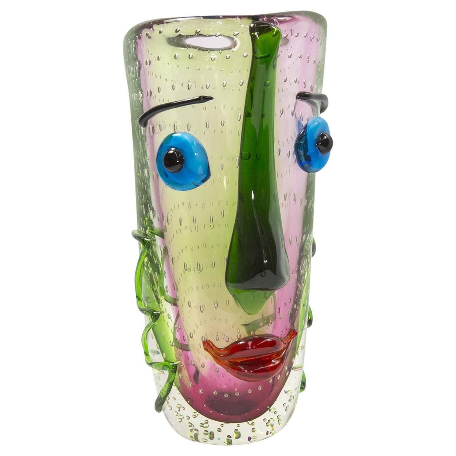 tall black vases for sale of fabulous large murano multicolored abstract picasso face art glass in fabulous large murano multicolored abstract picasso face art glass vase