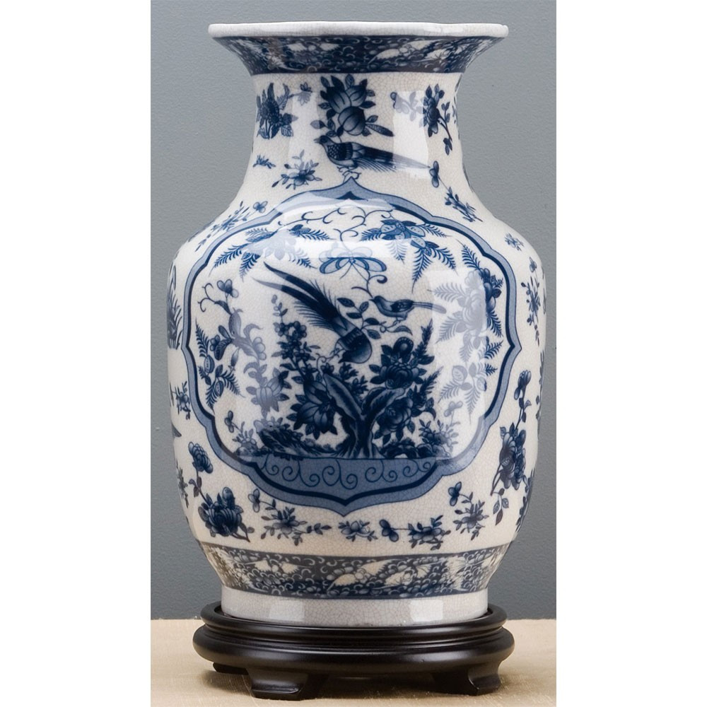 Tall Blue Ceramic Vase Of Chinoiserie Vase Brass Burl 10794 Inside Chinoiserie Vase