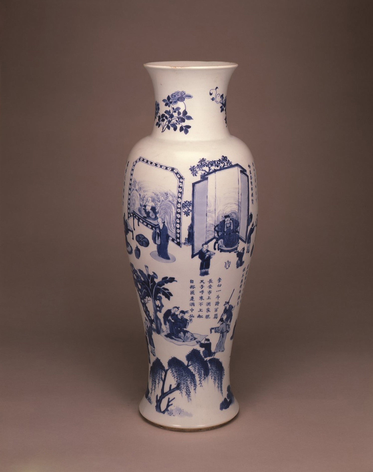 tall blue vase of a tall blue and white baluster vase kangxi 1662 1722 anita gray throughout a tall blue and white baluster vase