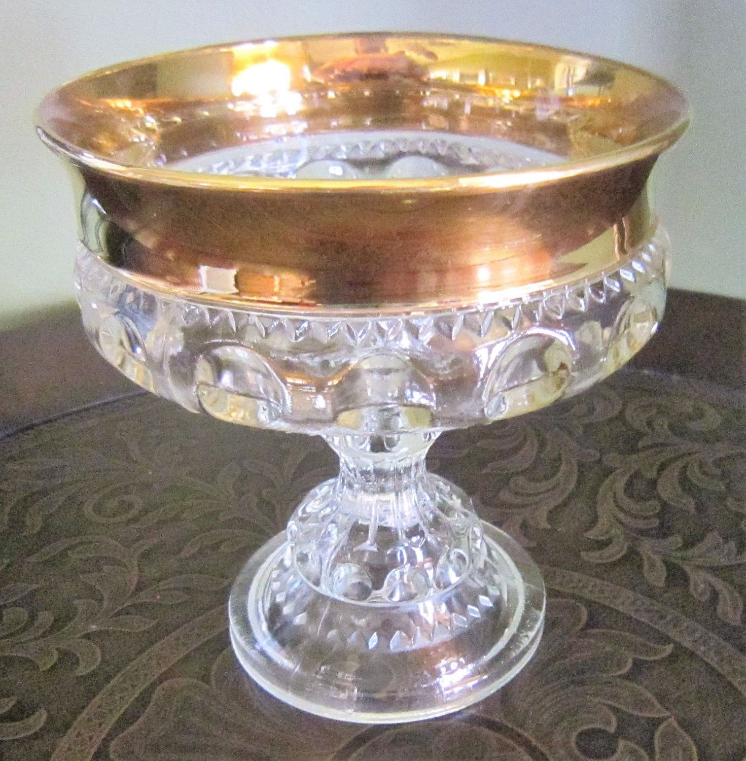 tall clear glass pedestal vase of vintage glass bowl kings crown pedestal bowl footed clear glass with vintage glass bowl kings crown pedestal bowl footed clear glass gold trim bowl