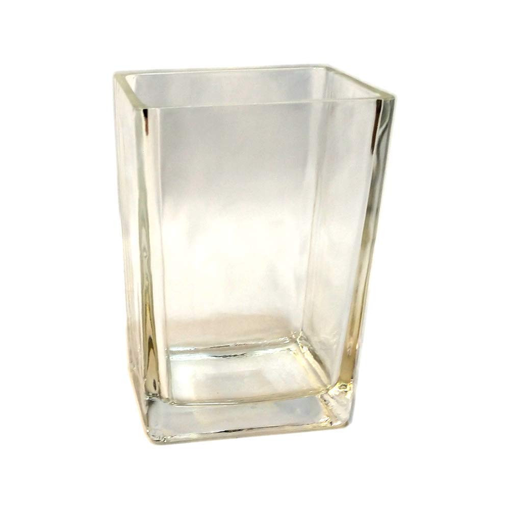 tall fluted glass vase of amazon com concord global trading 6 rectangle 3x4 base glass vase throughout amazon com concord global trading 6 rectangle 3x4 base glass vase six inch high tapered clear pillar centerpiece 6x4x3 candleholder home kitchen