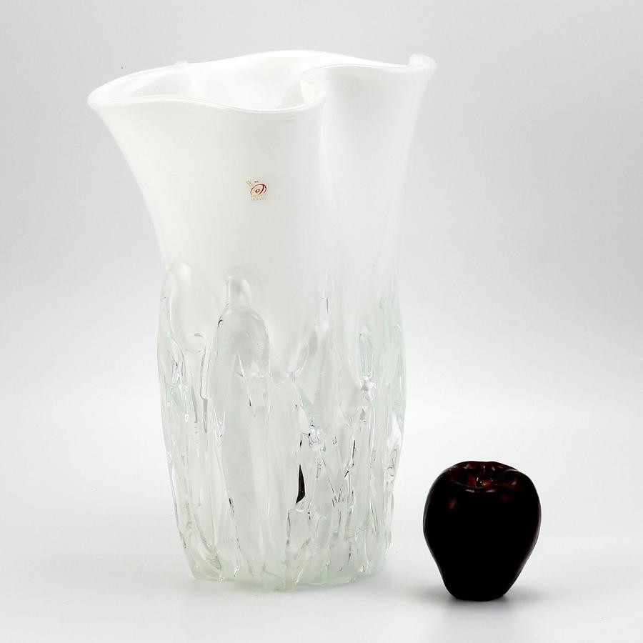 tall fluted glass vase of shop by price 501 to 1000 artistica com inside murano original tall vase milk white clear wavy rim smooth and textured surface