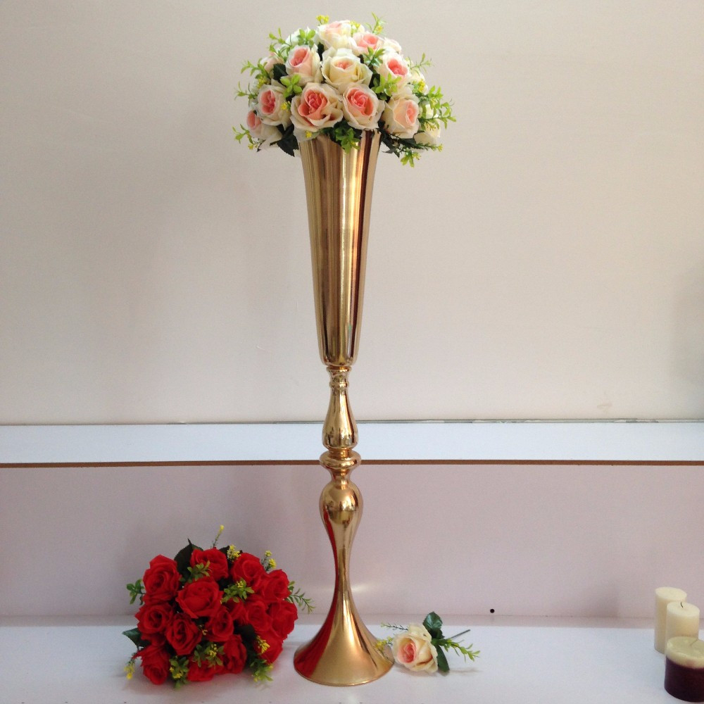 tall gold glass vase of aliexpress com buy gold table centerpiece wedding flower vase for aliexpress com buy gold table centerpiece wedding flower vase wedding decoration 88cm tall 10pcs lot from reliable vases purple suppliers on fancy cool