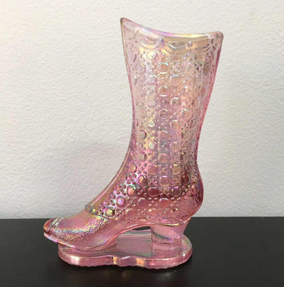 tall pink glass vases of fenton art glass pink iridescent glass victorian tall boot with base intended for fenton art glass pink iridescent glass victorian tall boot with base ebay