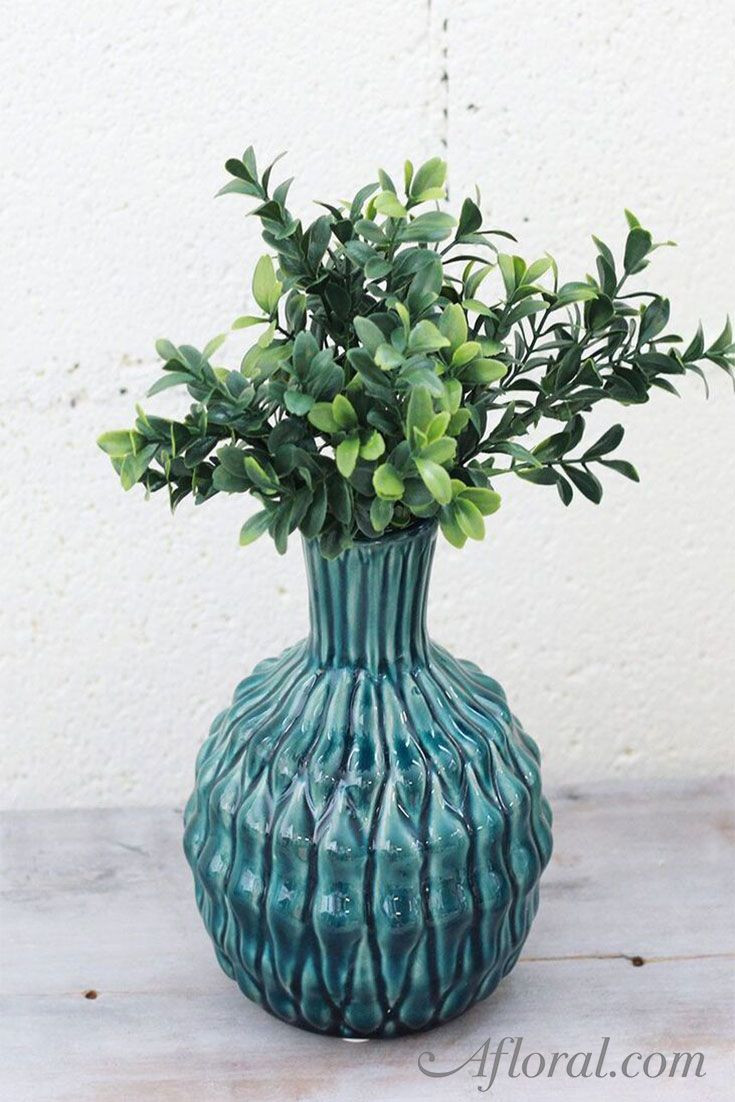 tall plant vase of artificial deluxe boxwood pick in two tone green 10 tall green is in artificial deluxe boxwood pick in two tone green 10 tall