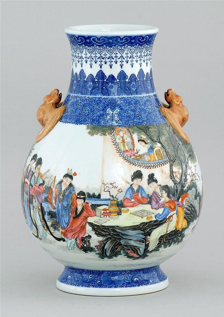 tall red ceramic vase of porcelain vase in pear shape with bat form handles and figural regarding porcelain vase in pear shape with bat form handles and figural decoration body inscribed to messrs wing hing lung co habana cuba from chun loong sang