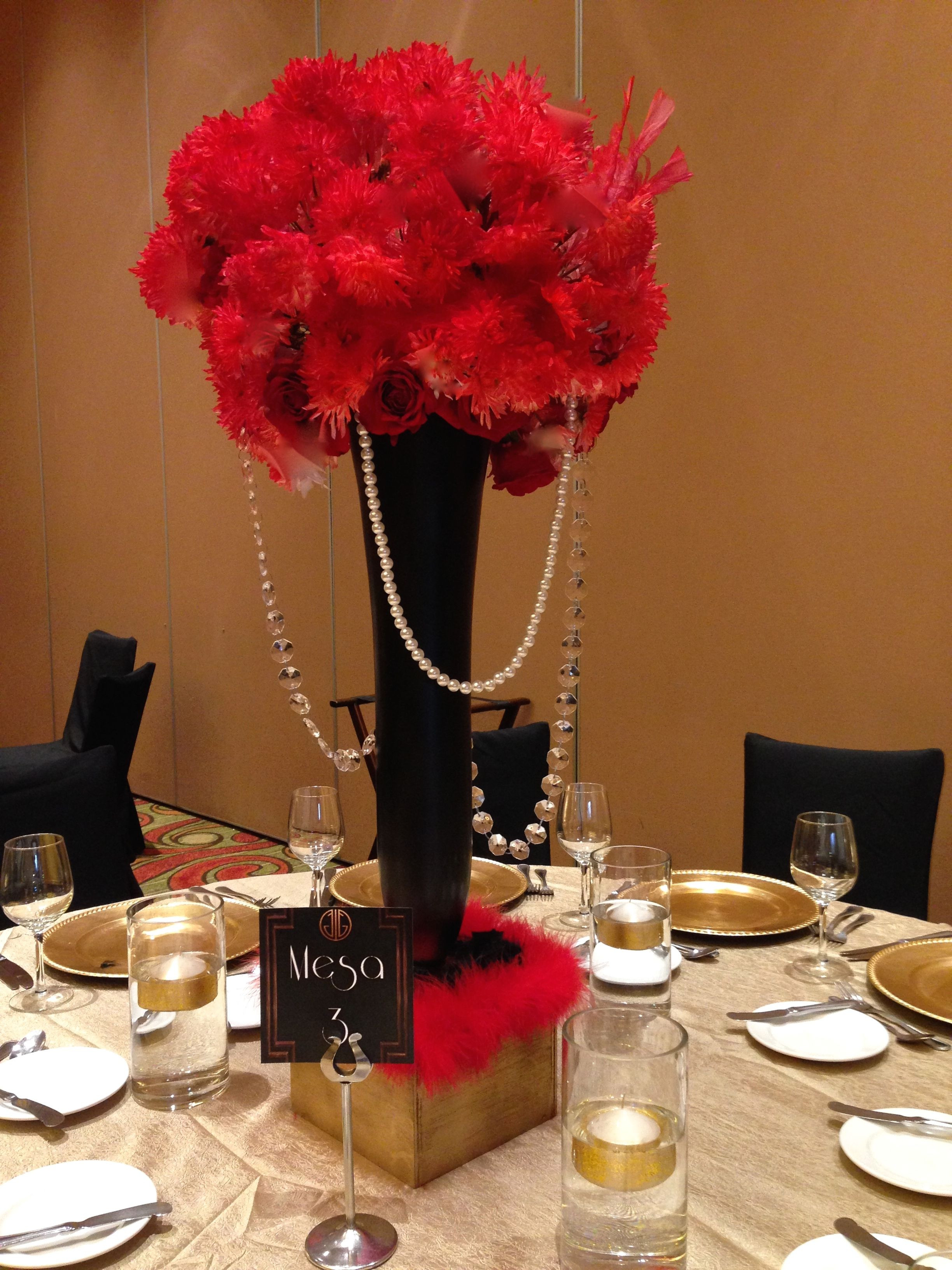 Tall Silver Vases for Wedding Centerpieces Of Tall Centerpiece Red Roses and Black Vases Great Gatsby theme Pertaining to Tall Centerpiece Red Roses and Black Vases Great Gatsby theme