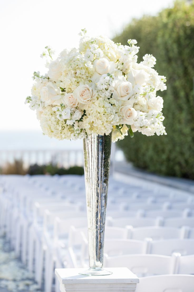 tall thin vases for wedding of 11 best projects to try images on pinterest floral arrangements in tall white rose and hydrangea centerpiece in a silver lined vase for the other half of