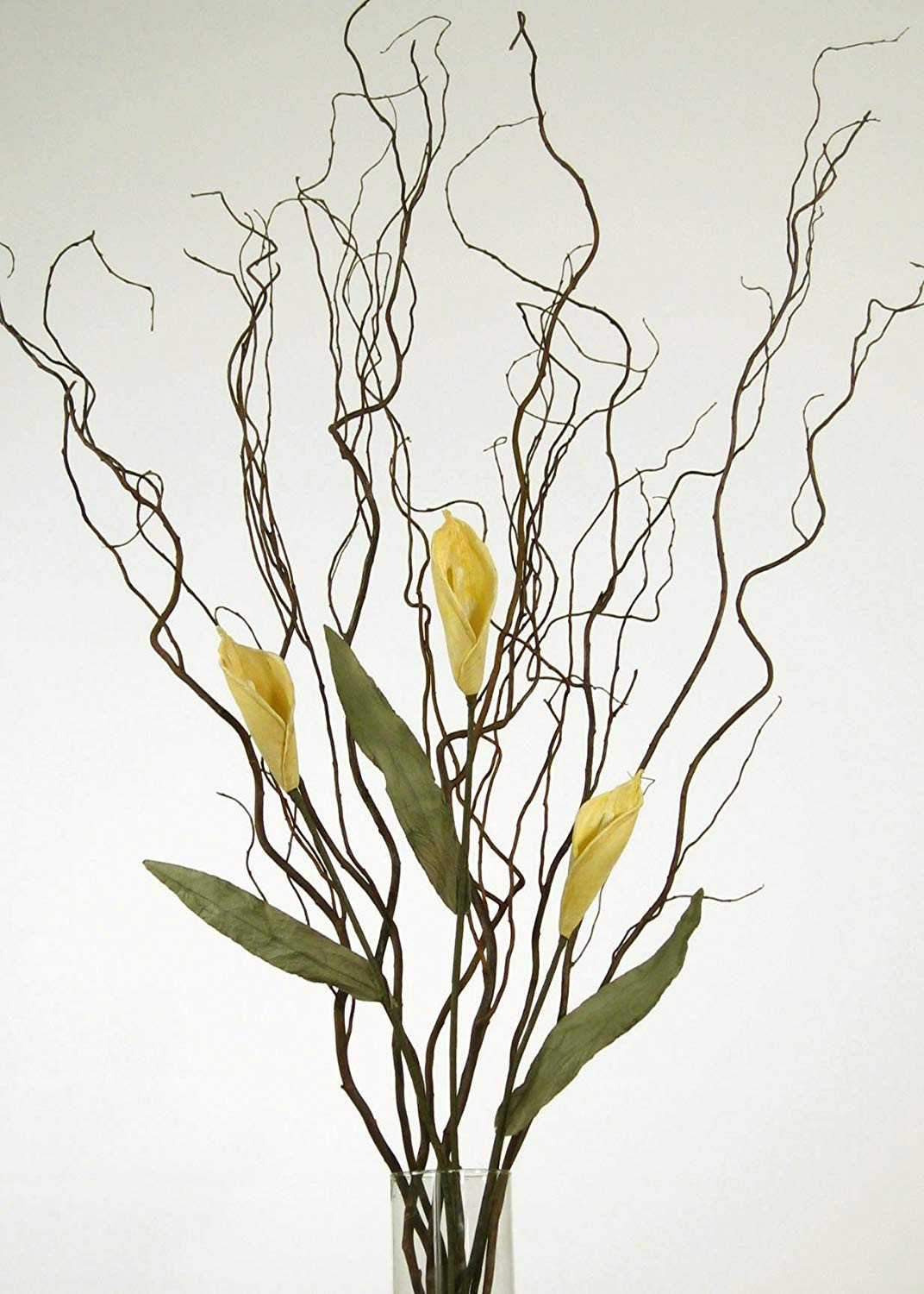 tall vase arrangements branches of amazon com greenfloralcrafts curly willow and yellow calla lilies within amazon com greenfloralcrafts curly willow and yellow calla lilies vase not included home kitchen
