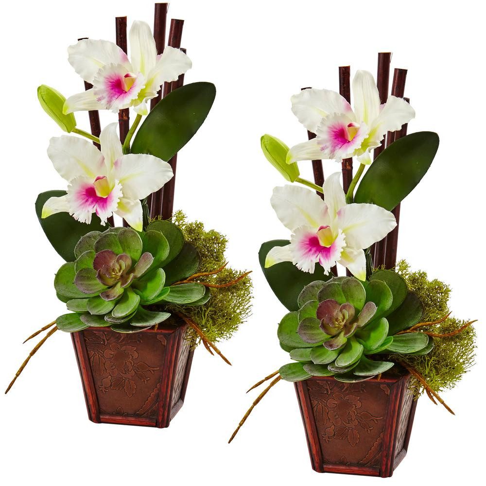 Tall Vase with Artificial Flowers Of Artificial Plants Flowers Home Accents the Home Depot Inside 14 75 In Cattleya orchid and Succulent Arrangement In White Set Of