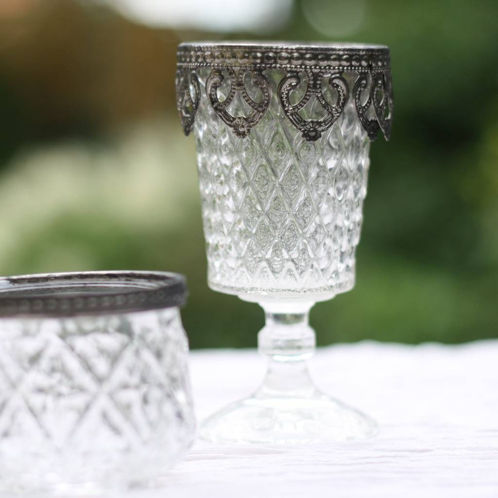 Tea Light Holder with Vase Of Pressed Glass Footed Vase Candle Holder Metal Rim by the Wedding Of with Regard to Pressed Glass Footed Vase Candle Holder Metal Rim