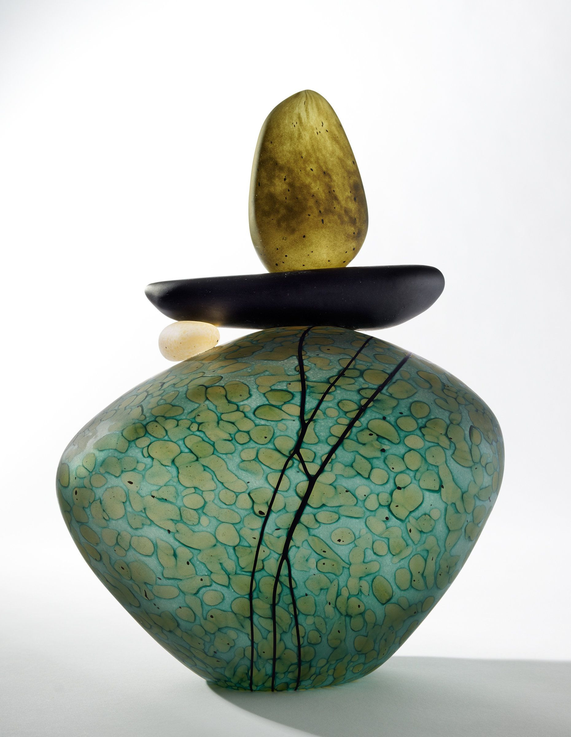 teal ceramic vase of cairn rock totem in teal by melanie guernsey leppla art glass for cairn rock totem in teal by melanie guernsey leppla art glass sculpture artful home