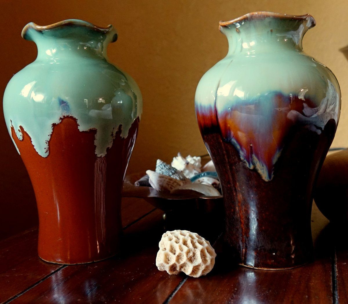 teal ceramic vase of pottery vases set of 2 handmade in vietnam teal and brown decor regarding pottery vases set of 2 handmade in vietnam teal and brown decor flower vases drip glaze set of ruffled edge vases vietnam aqua tan by