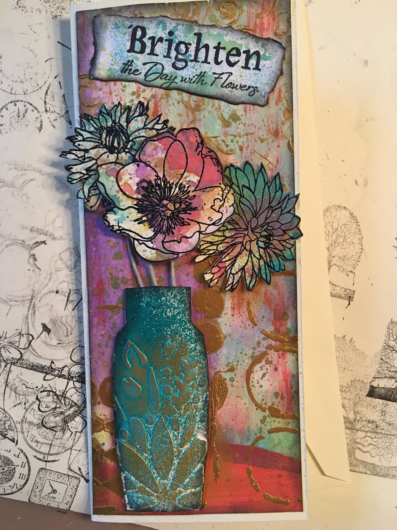 teal flower vase of birthday card vase with flowers rickis handmade cards pinterest intended for birthday card vase with flowers