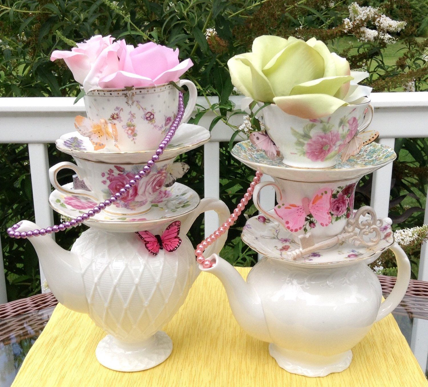 teapot flower vase of pair of two teapot teacup centerpieces pearls key butterflies pertaining to pair of two teapot teacup centerpieces pearls key butterflies rose