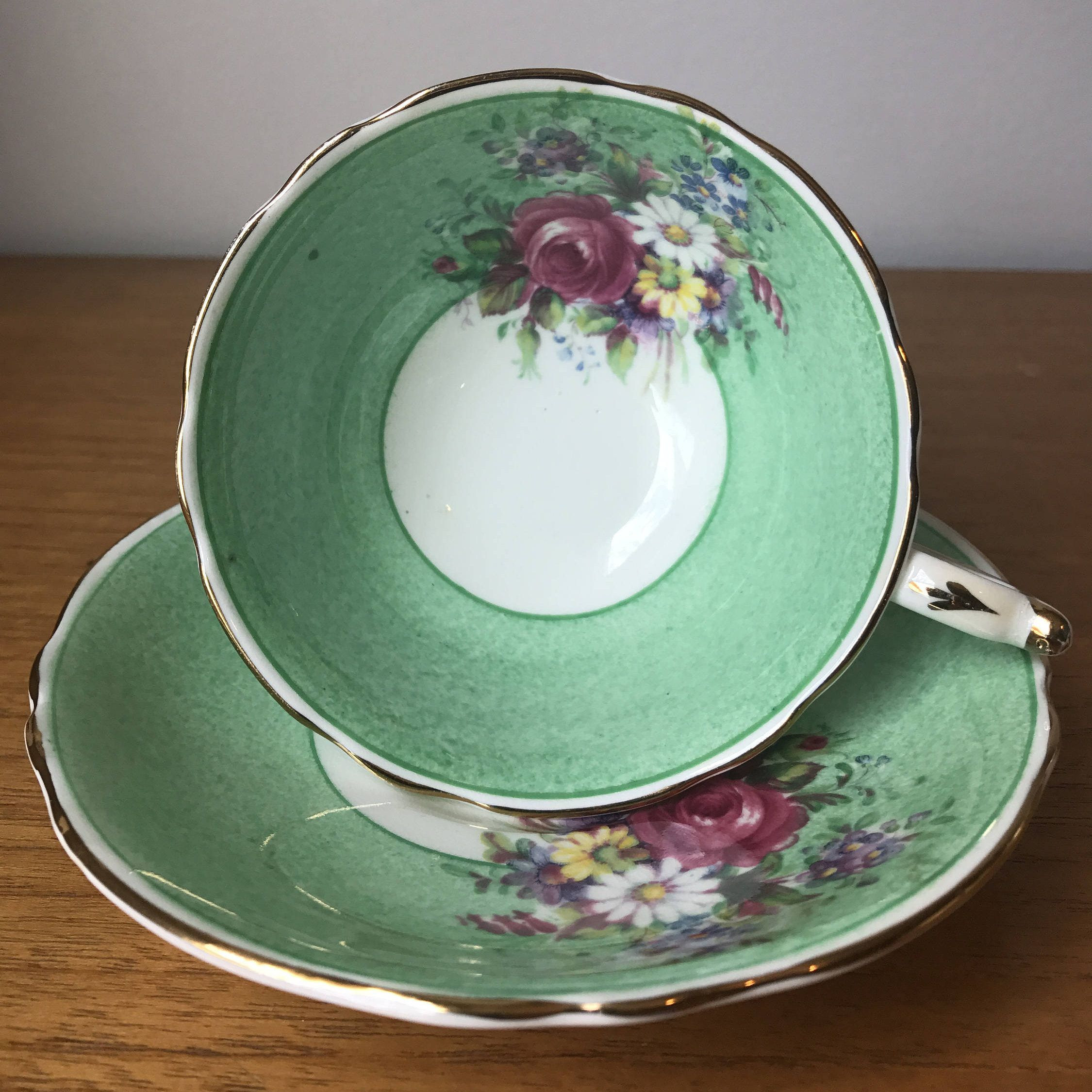 teapot flower vase of vintage english paragon tea cup and saucer speckled green border throughout vintage english paragon tea cup and saucer speckled green border flower teacup and saucer set bone china garden tea party by cupandowl on etsy
