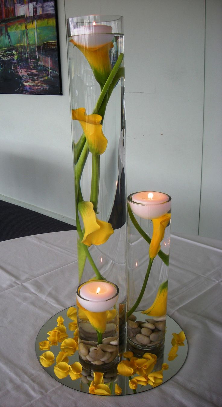 teardrop vases bulk of 546 best table decor images on pinterest centerpieces floral within stunning yellow calla lily center pieces i would add white rocks on the bottom and