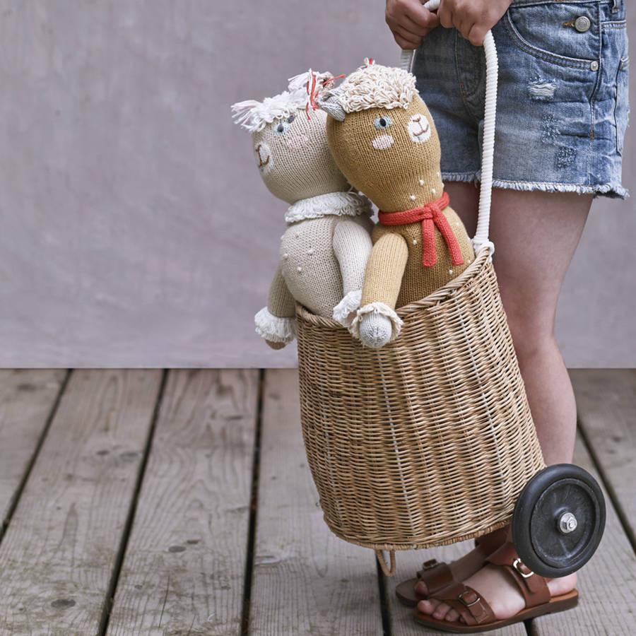 teddy bear vase of little luggy wheeled basket by rowen wren notonthehighstreet com with little luggy wheeled basket