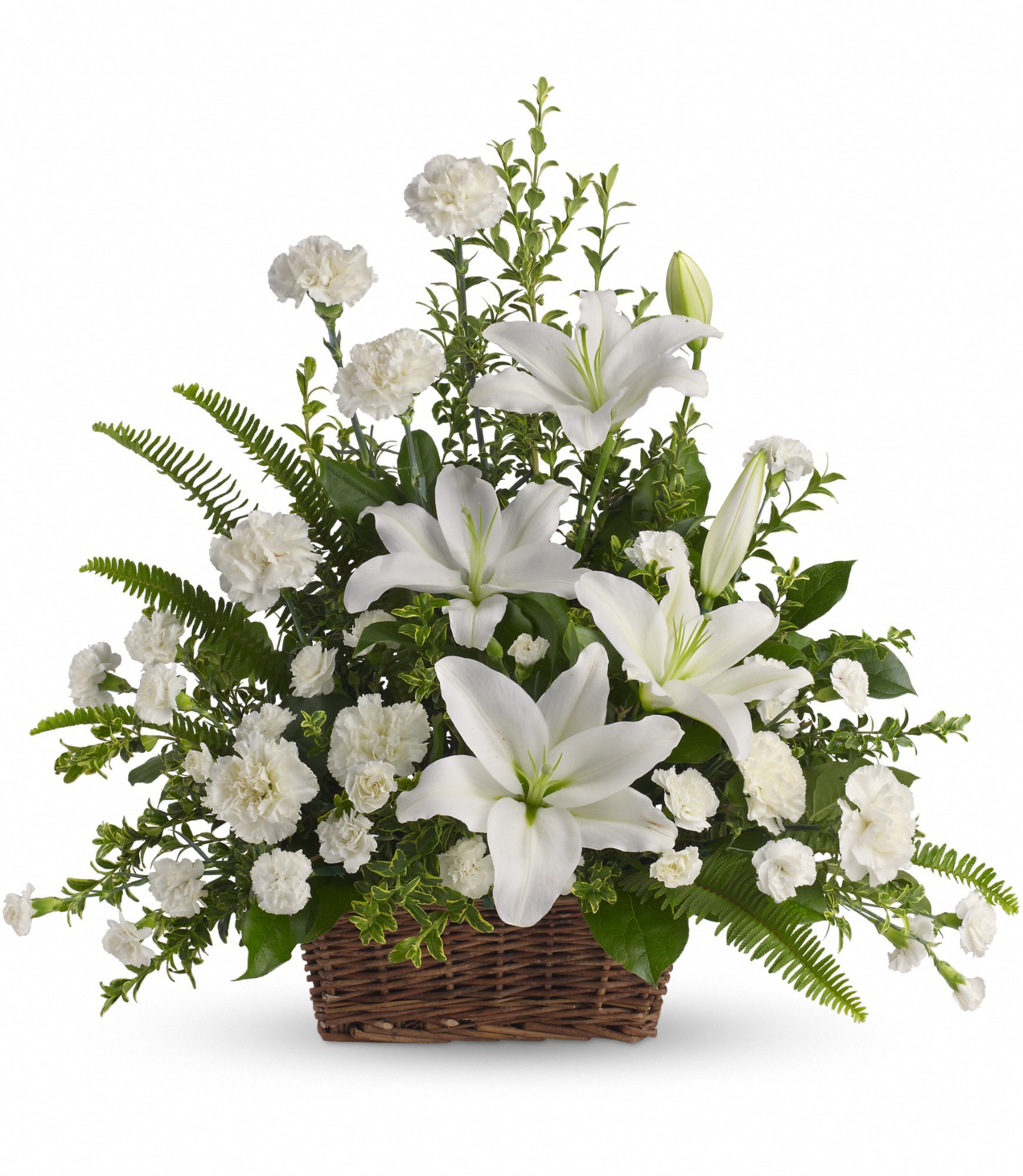 Teleflora Gift Vase Of Peaceful White Lilies Basket by Teleflora T228 1a In Bensalem Pa Regarding Peaceful White Lilies Basket by Teleflora T228 1a