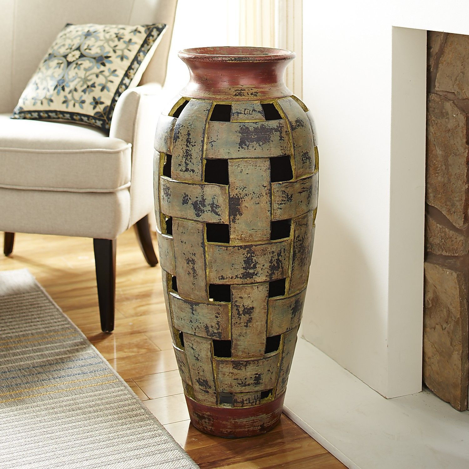 Terracotta Clay Vase Of Terracotta Open Weave Floor Vase Products Pinterest Open Weave Intended for Terracotta Open Weave Floor Vase Green
