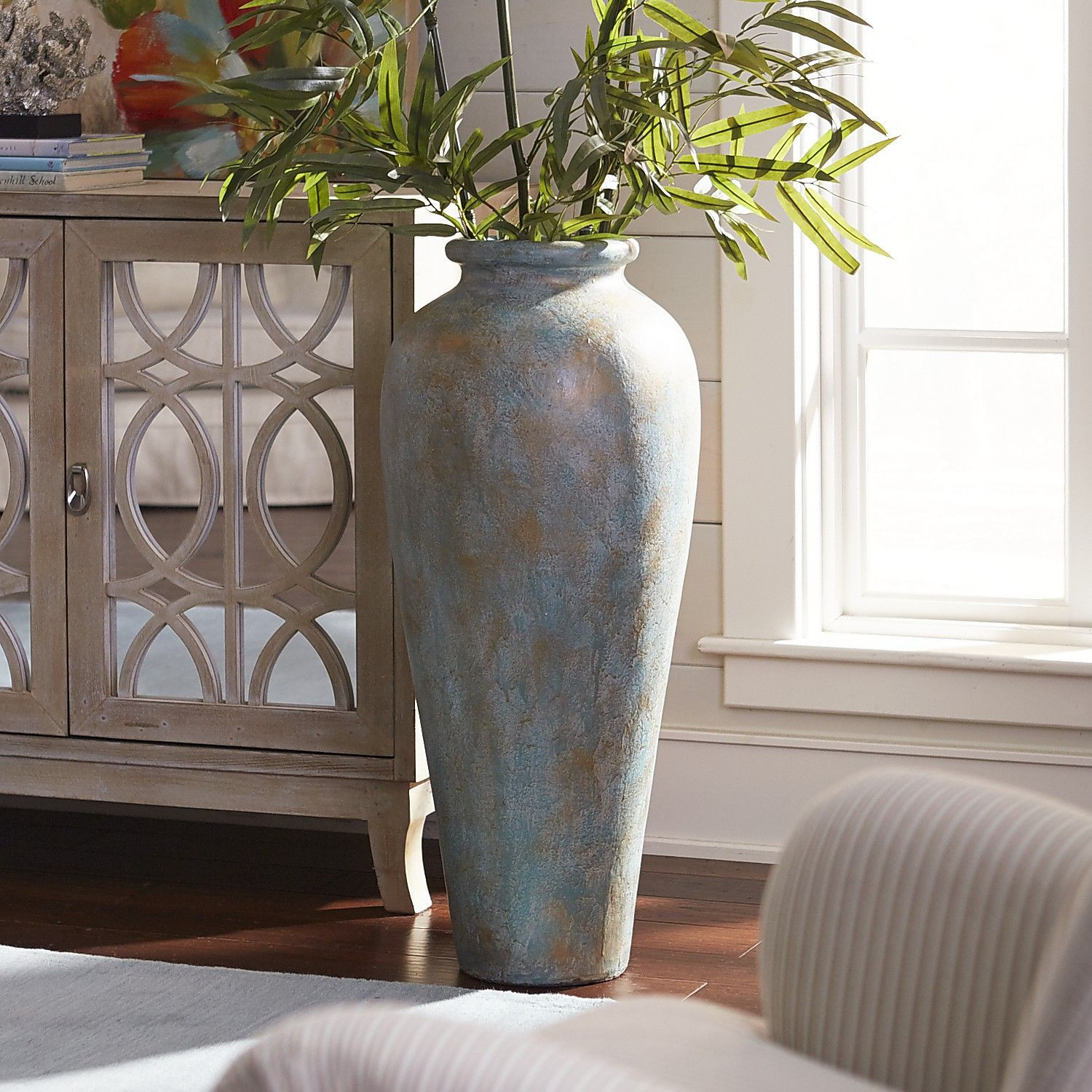 Terracotta Vase Of Blue Green Patina Urn Floor Vase Products Pinterest Flooring Pertaining to Blue Green Patina Urn Floor Vase
