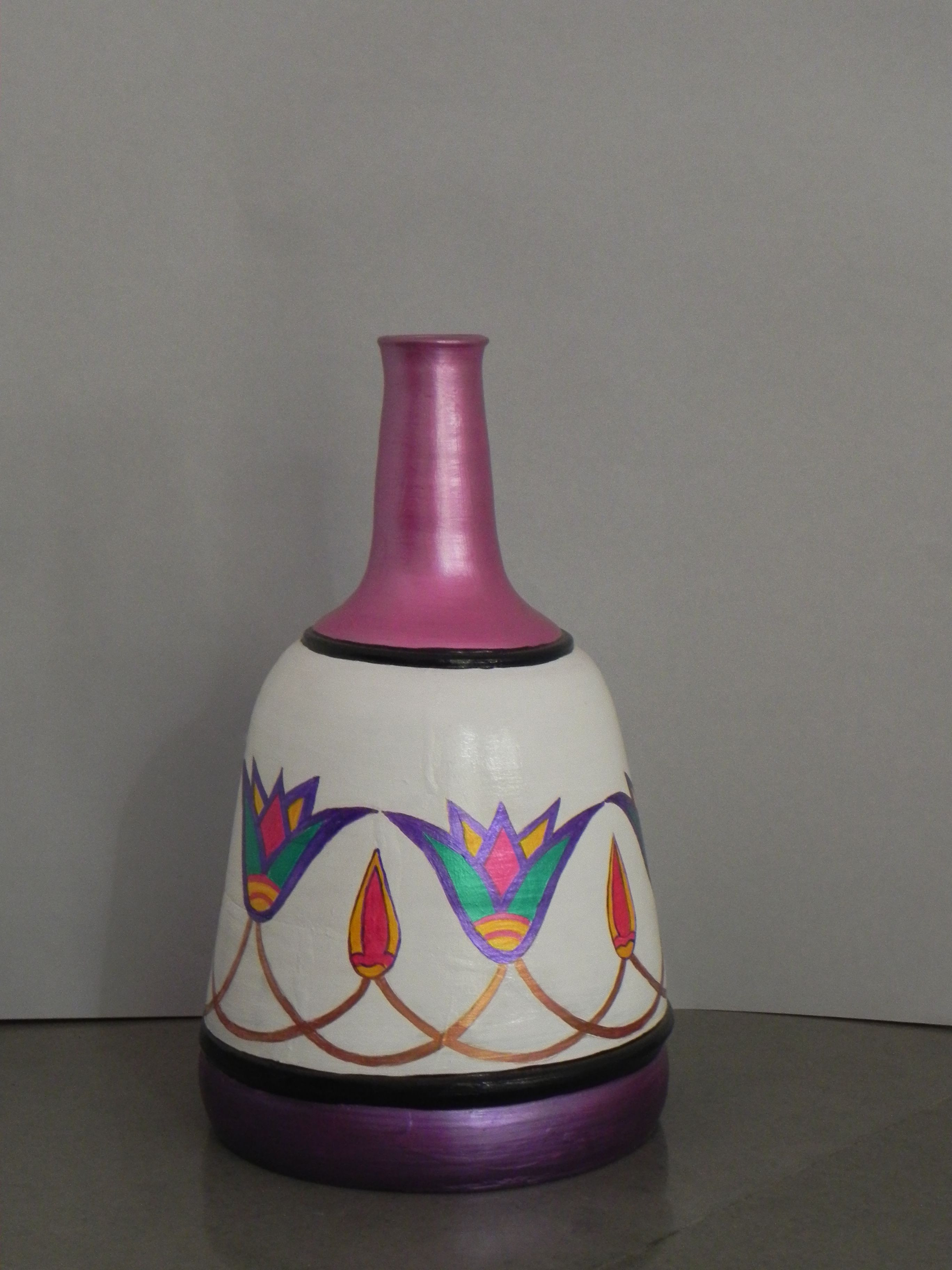 terracotta vase of egyptian style pot floral design in egyptian style white background pertaining to egyptian style pot floral design in egyptian style white background pink neck violet bottom size 15 5 tall x 9