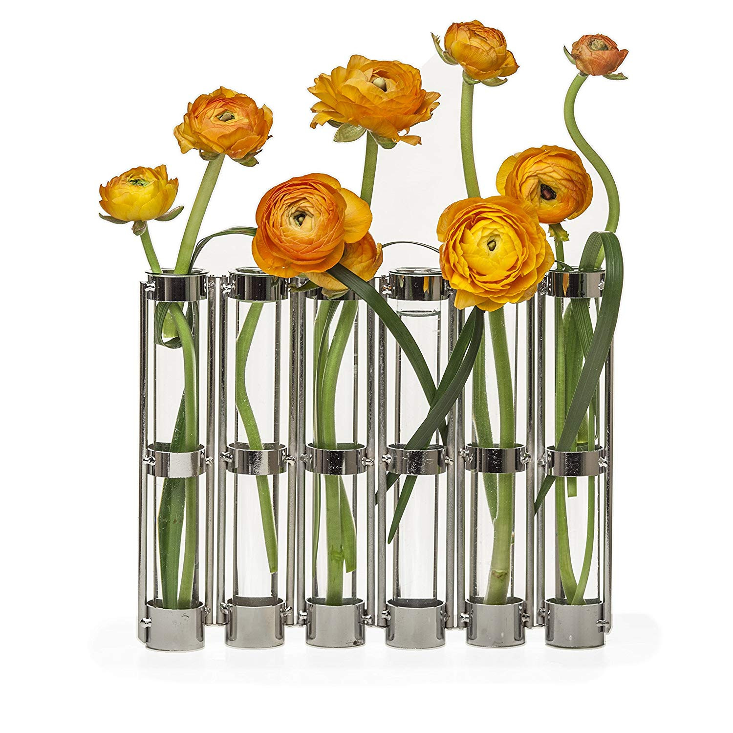 Test Tube Flower Vase Rack Of Amazon Com Danya B Metallic Six Tube Hinged Bud Vase In Silver Pertaining to Amazon Com Danya B Metallic Six Tube Hinged Bud Vase In Silver Finish Home Kitchen
