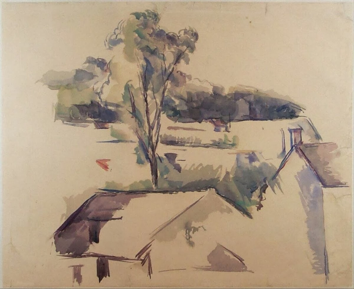 the blue vase paul cezanne of art artists paul cazanne part 10 intended for paul cazanne 1888 90c view of houses and a landscape with mountains graphite and watercolour 32 5 x 40 cm museum boijmans van beuningen rotterdam