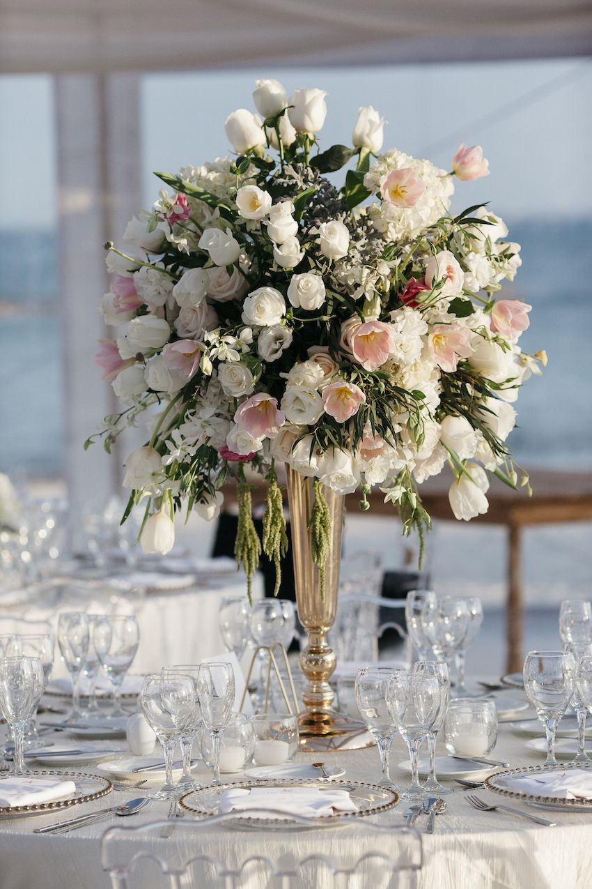 Tiffany Tulip Vase Of Elegant Beachside Destination Wedding In Playa Del Carmen Mexico with A Burst Of Vanilla Roses orchids and Hydrangeas Were Accented by Blush Tulips and