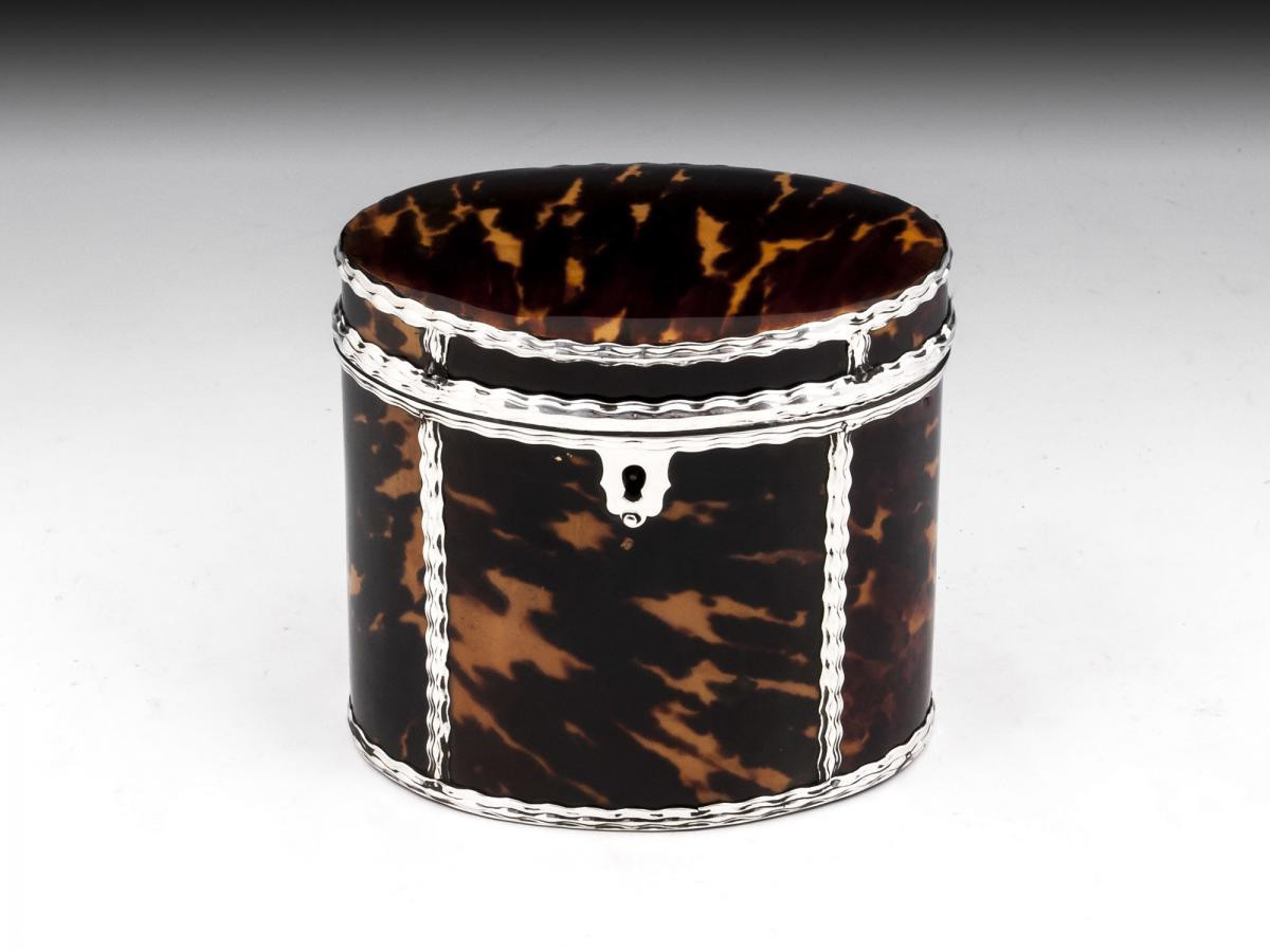 tortoise shell glass vase of georgian oval tortoiseshell silver tea caddy bada within georgian oval tortoiseshell silver tea caddy