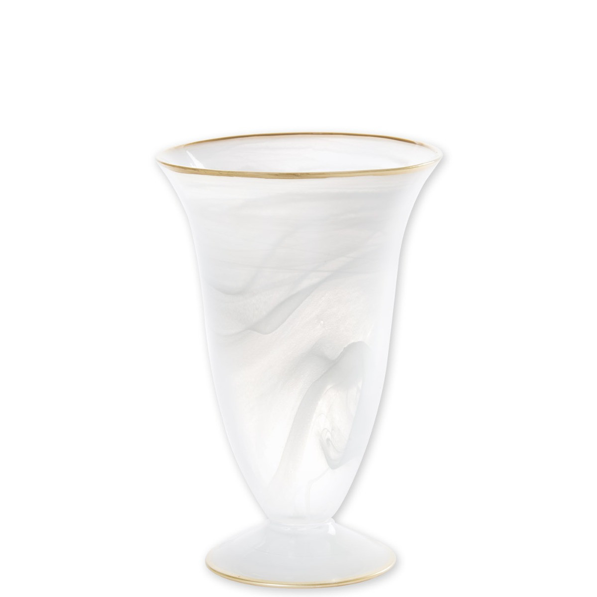 tortoise shell vase of alabaster white w gold edge medium footed vase vietri in abs 5282w 1400 product image 1