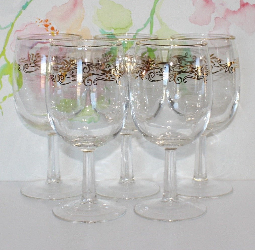 "towle crystal vase of vintage set of 5 floral gold trim wine glasses gold rim etsy for dŸ""Žzoom"