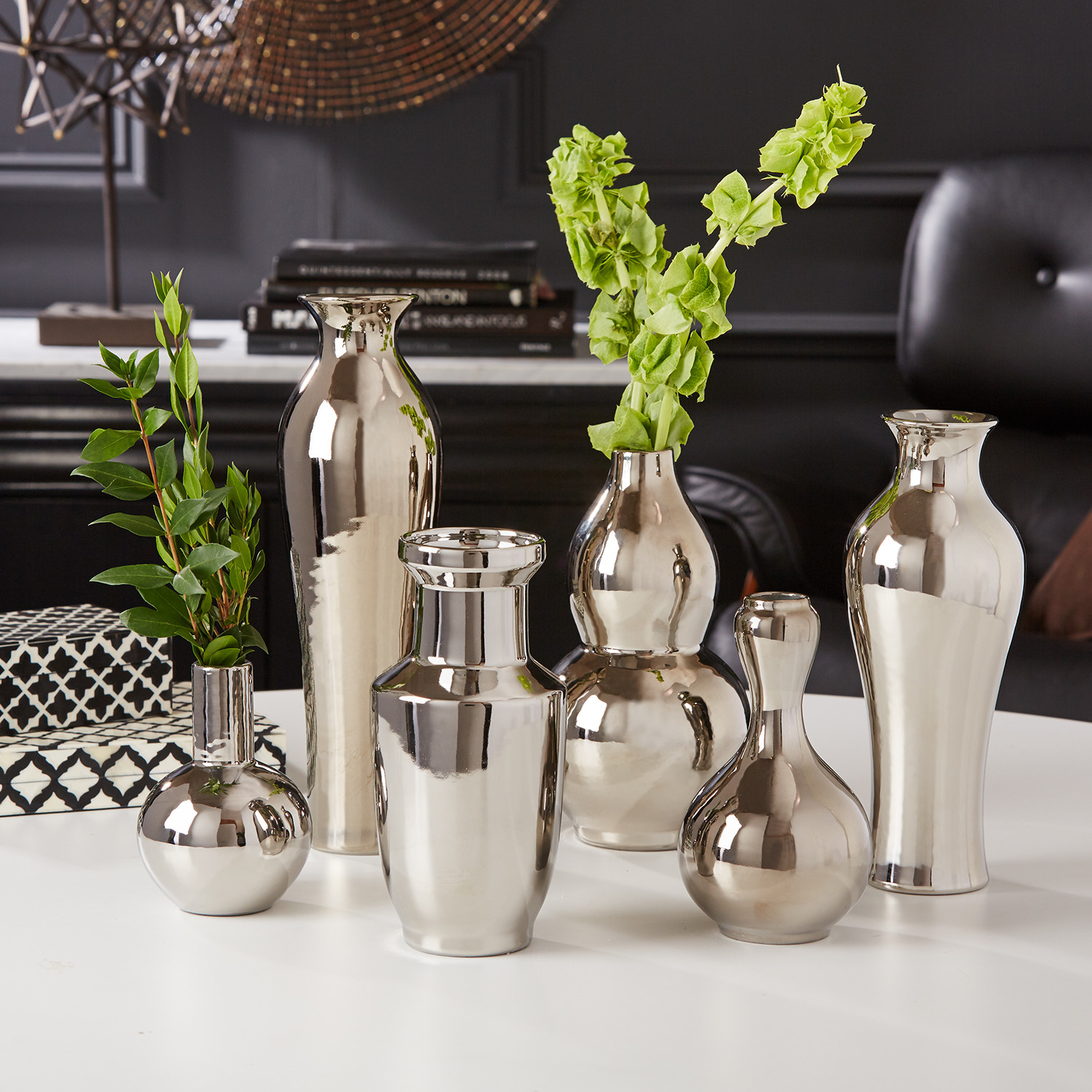 tozai home vase of twos company bookshelf styling tips pertaining to set of 6 traditional silver vases