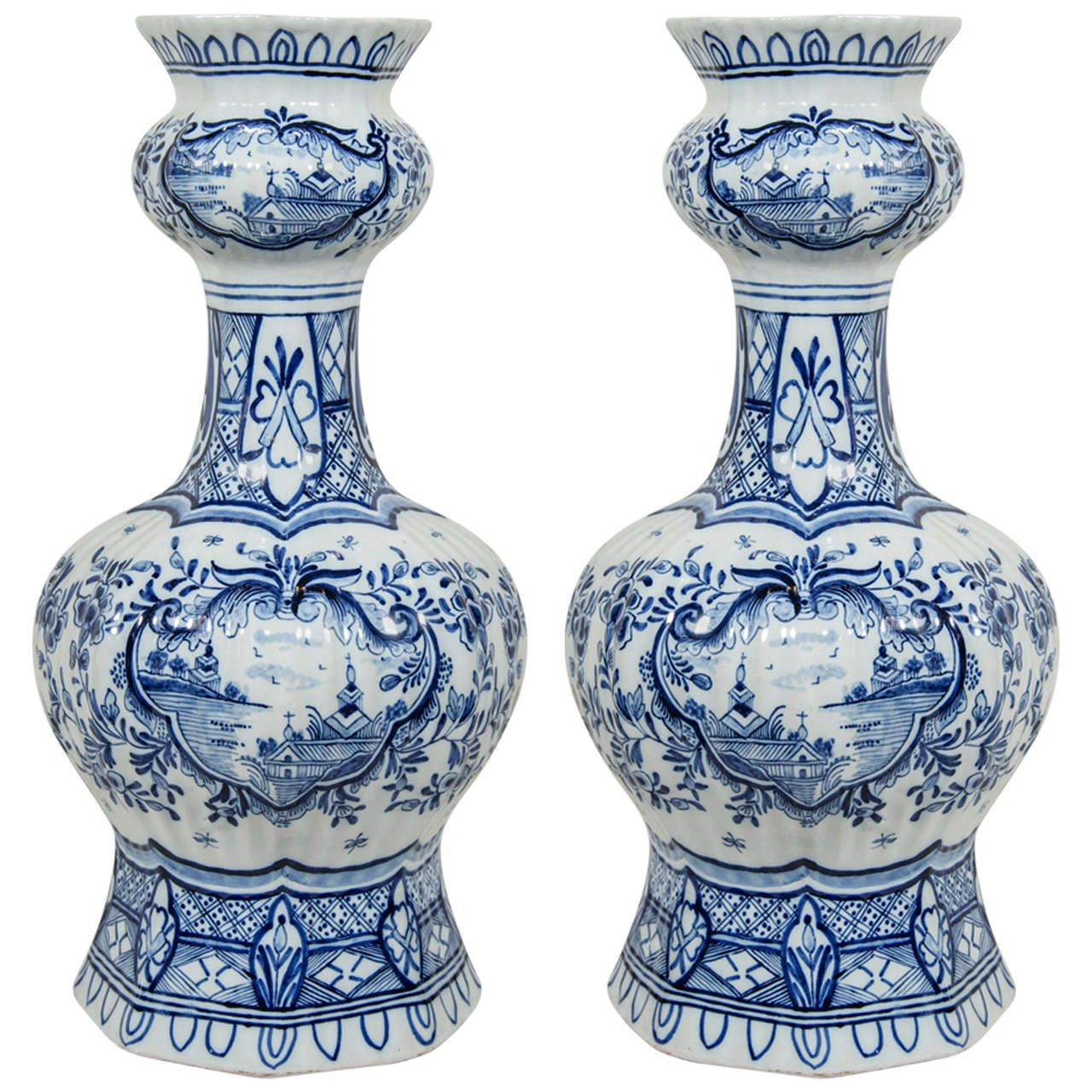 traditional dutch tulip vases of pair of blue and white dutch delft vases with chinoiserie scenes throughout antique and modern furniture jewelry fashion art