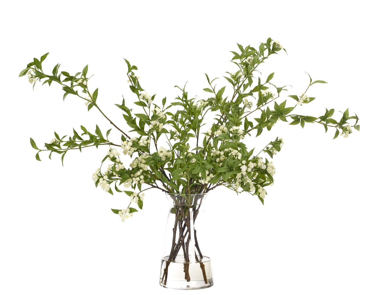 tree branch vase of spiraea branch white cinched glass vase 30wx20dx24h within 2cc831191a07aab801eac0ba8b63