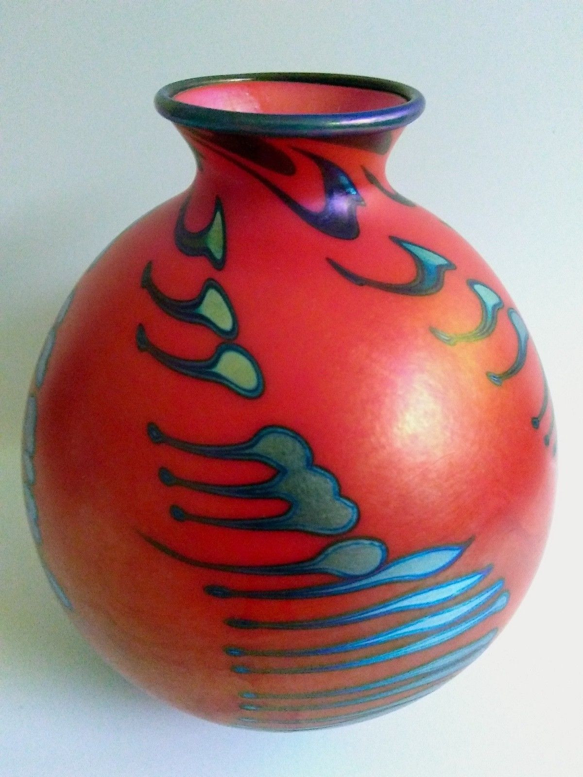 Trumpet Pilsner Vase Of Signed Vintage Charles Lotton Art Glass Vase Mandarin Red Cobalt within 1 Of 10only 1 Available
