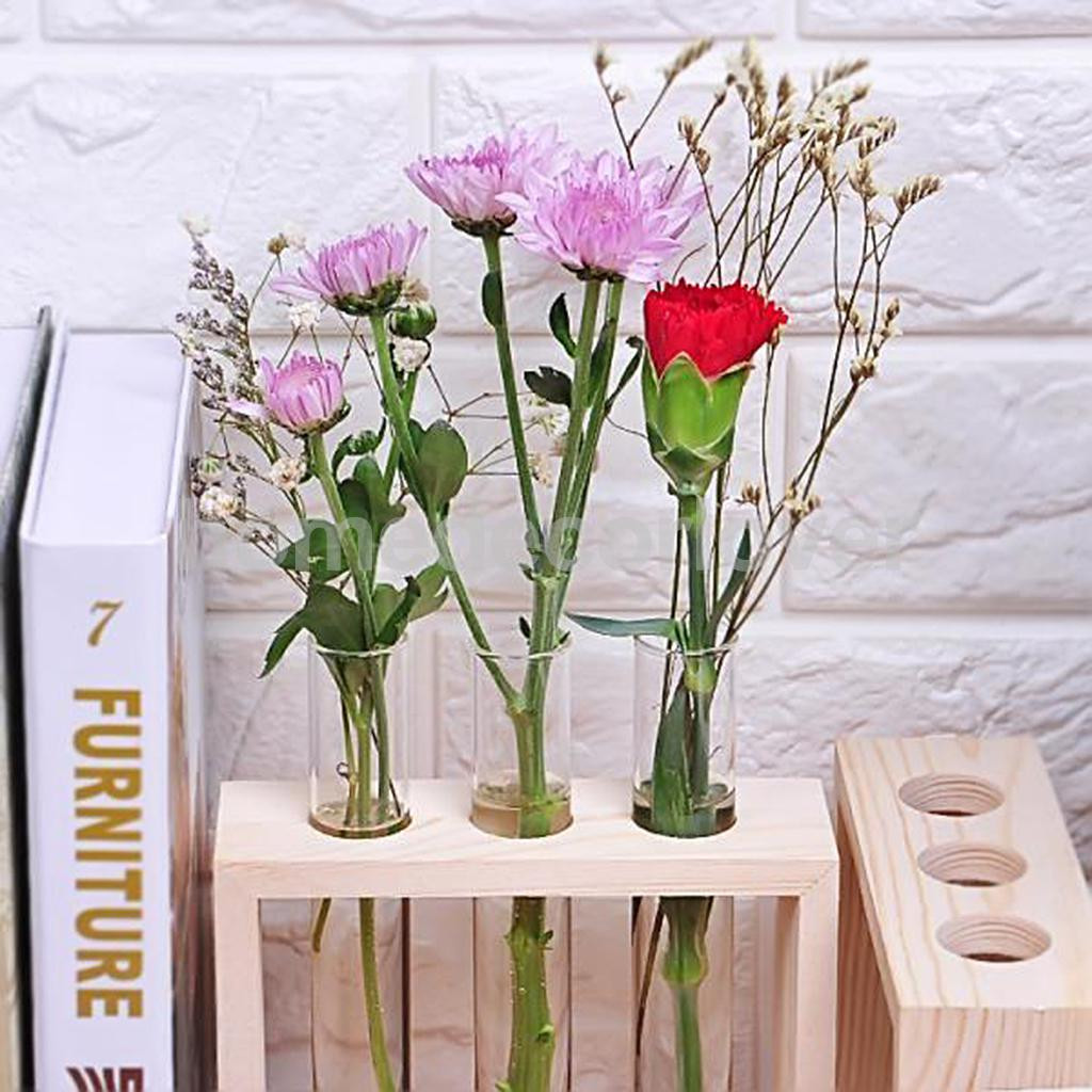 tube flower vase of crystal glass test tube vase in wooden stand flower pots for within aeproduct getsubject
