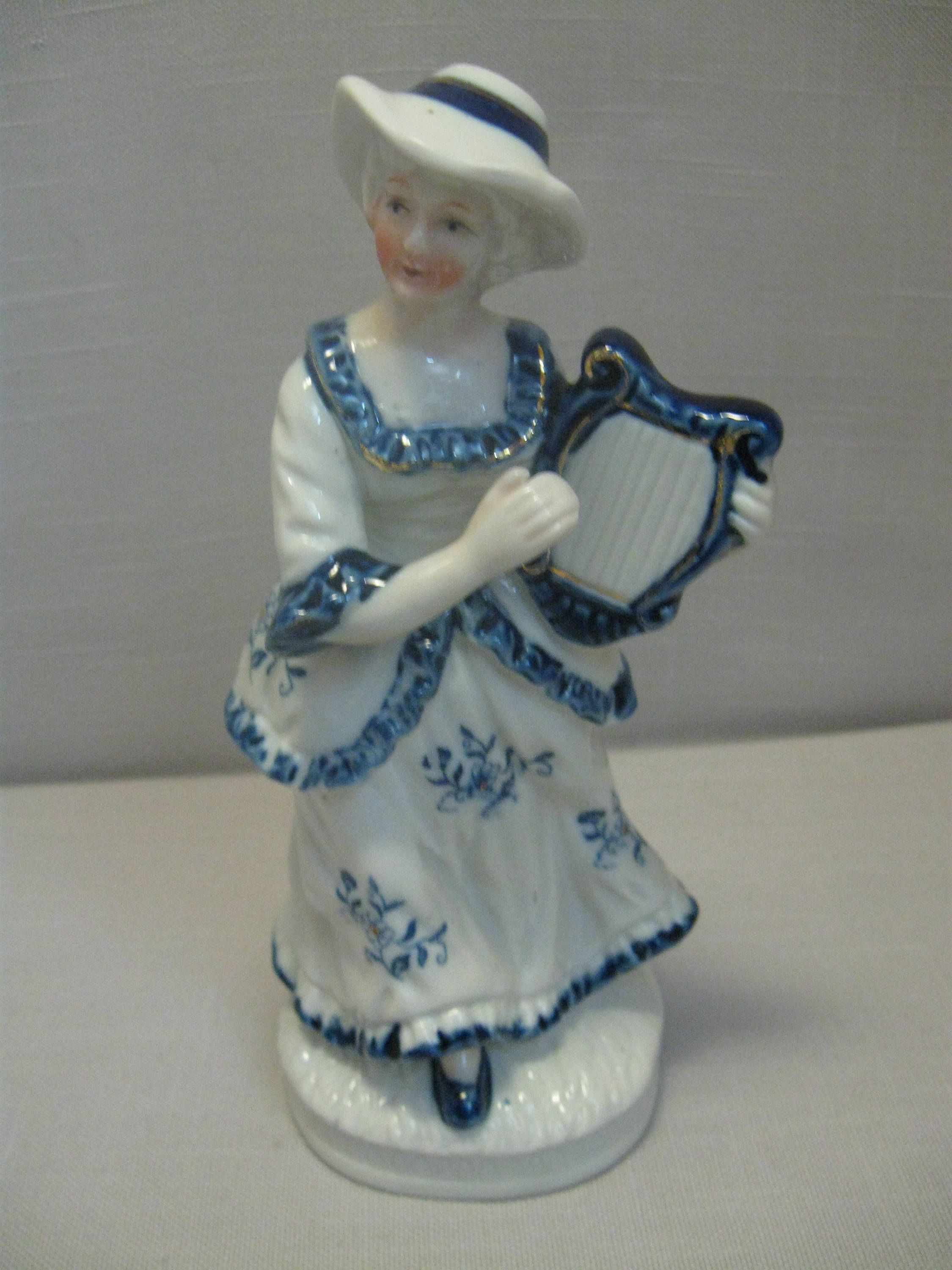 ucagco china vase of victorian figurine blue flower pattern on white gold trim dress lady pertaining to victorian figurine blue flower pattern on white gold trim dress lady playing harp by nancysantiques on etsy