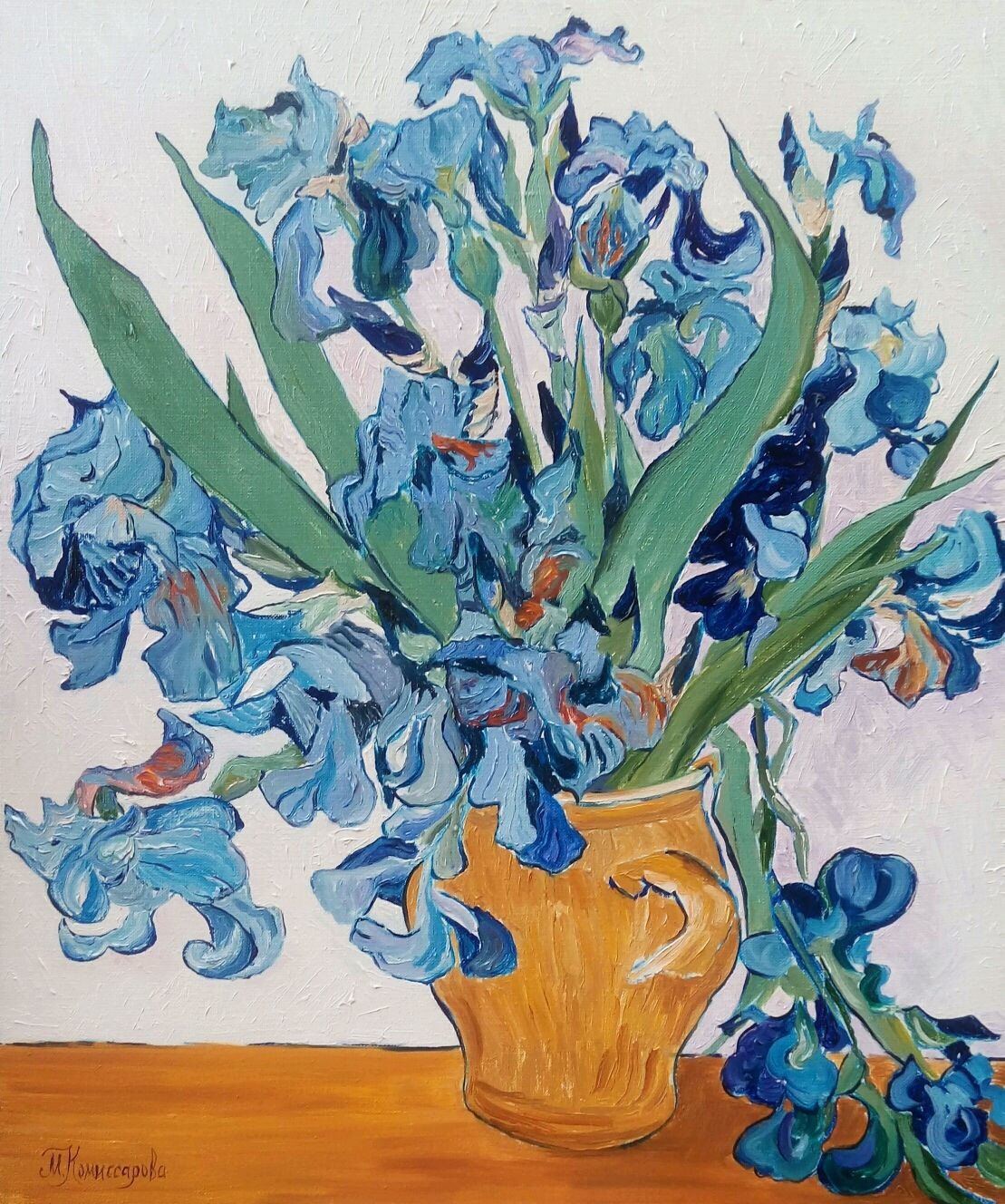 van gogh irises in vase of painting irises in a ceramic pot shop online on livemaster with pertaining to flower paintings handmade livemaster handmade buy painting irises in a ceramic pot