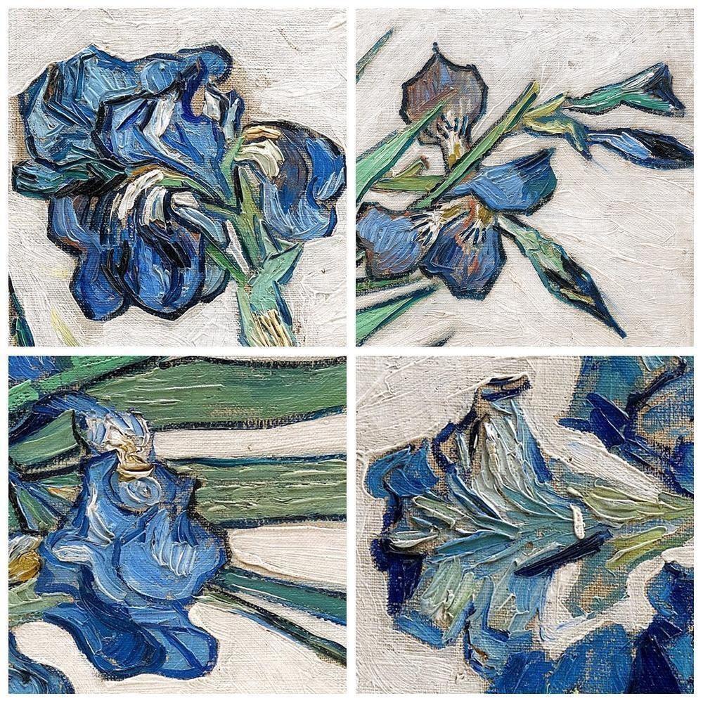 van gogh irises in vase of vincent van gogh irysy nowoczesne niebieskie kwiaty plakat drukuje in 1 2 irises vincent van gogh modern blue flowers poster