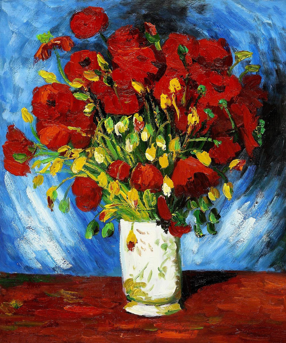 Van Gogh Poppies Vase Of Vase with Red Poppies 1886 Vincent Van Gogh Vincent Van Gogh within Vase with Red Poppies 1886 Vincent Van Gogh at Overstockart Com