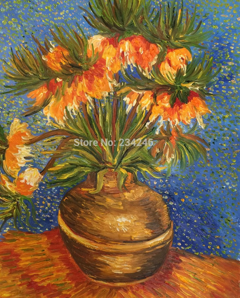 van gogh sunflowers in vase of aԤhandpainted canvas painting crown imperial fritillaries in a inside handpainted canvas painting crown imperial fritillaries in a copper vase van gogh floral oil painting wall decoration