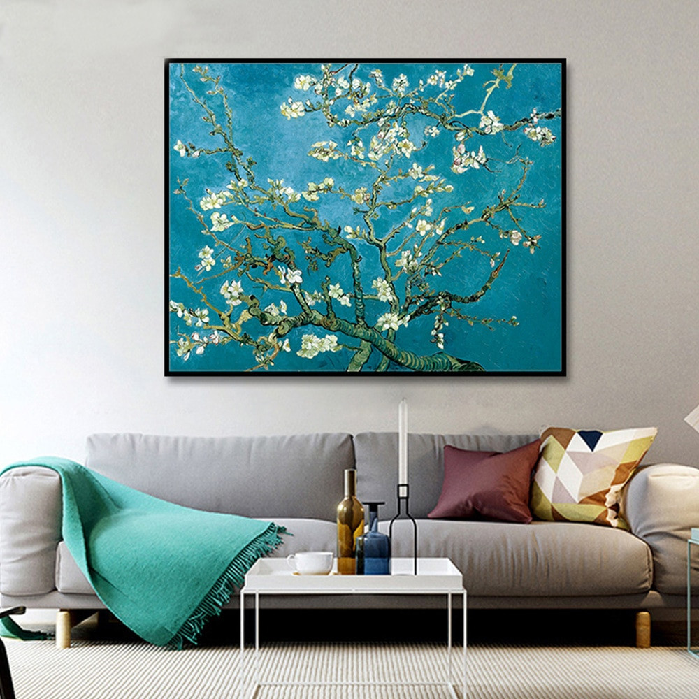 van gogh vase of blossoming almond tree by van gogh reproduction works oil painting for blossoming almond tree by van gogh reproduction works oil painting canvas print wall art picture living room cafe hotel decor in painting calligraphy from