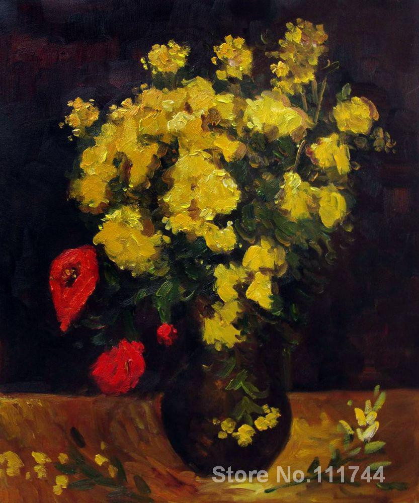 Van Gogh Vase Of Poppies Glass Vase Vase Painted Vase Hand Painted T Throughout Wall Art Vase with Viscaria Poppy Flowers by Vincent Van Gogh Paintings On Canvas Handmade High