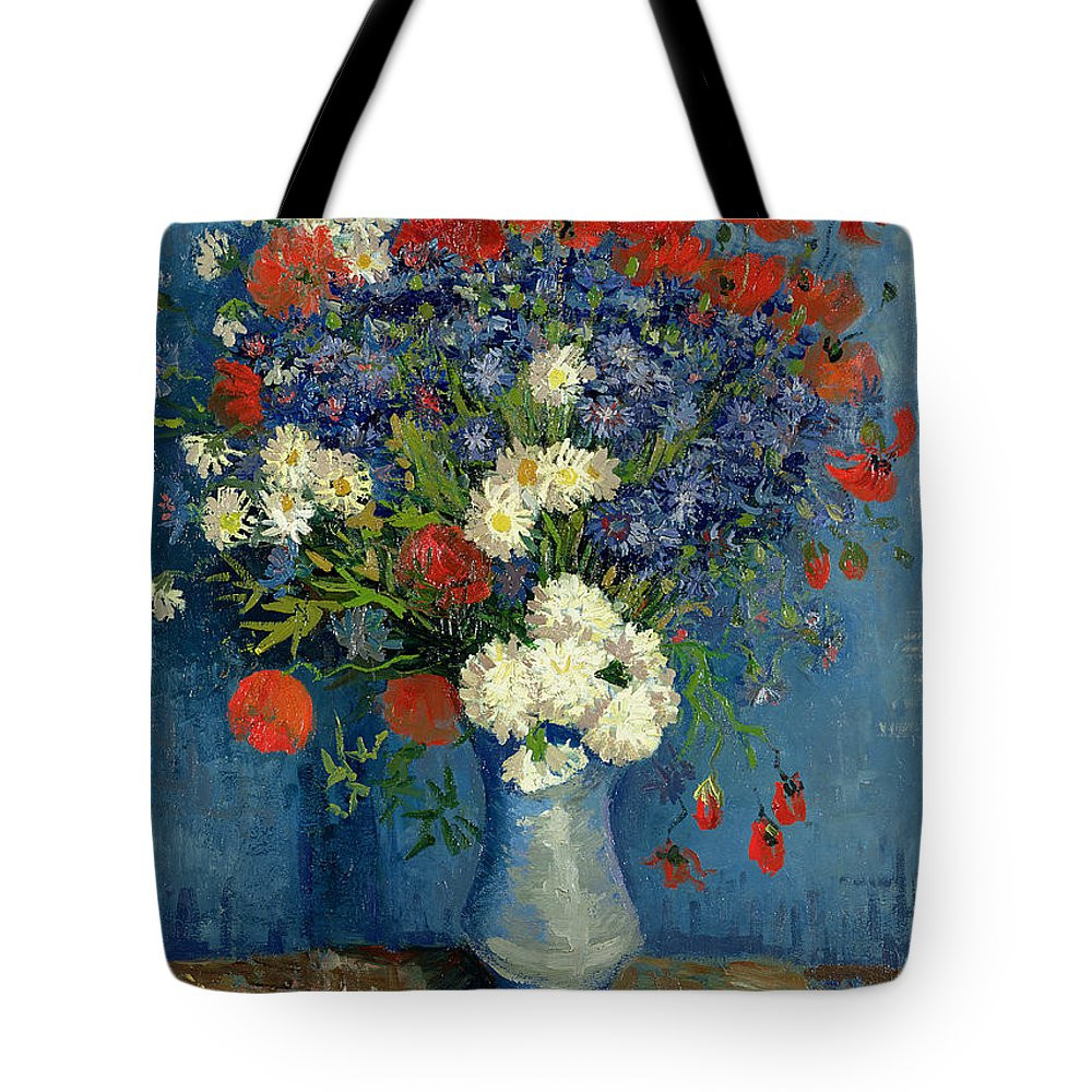 van gogh vase with cornflowers and poppies of vase with cornflowers and poppies tote bag for sale by vincent van gogh with still tote bag featuring the painting vase with cornflowers and poppies by vincent van gogh