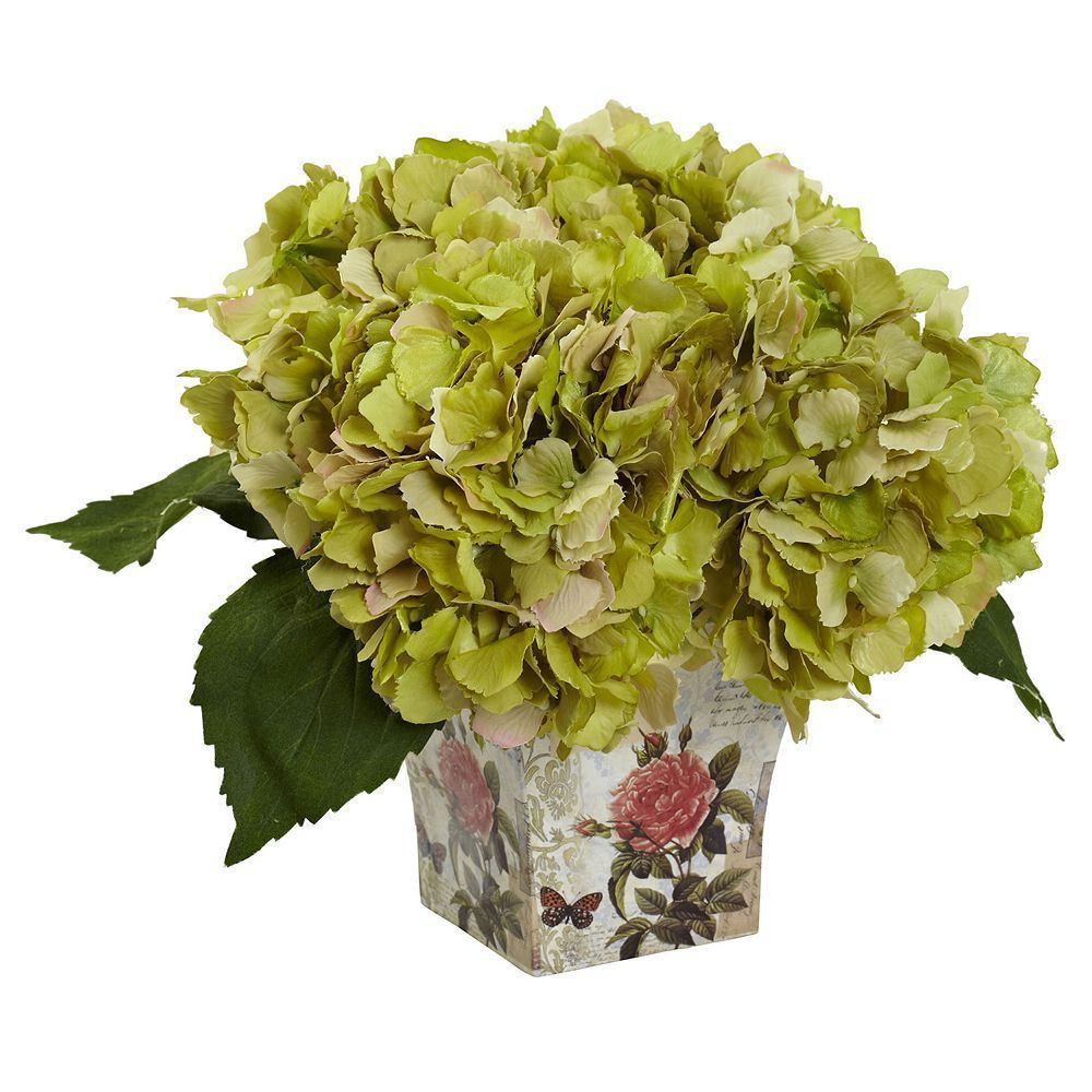 vase and faux flowers of nearly natural hydrangea silk artificial floral arrangement blue throughout nearly natural hydrangea silk artificial floral arrangement green